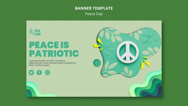 Bannermalplaatje voor internationale vredesdag Gratis Psd