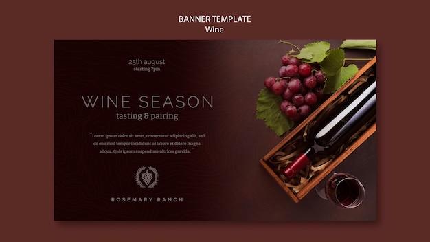 Bannermalplaatje voor wijnproeverij met druiven Gratis Psd