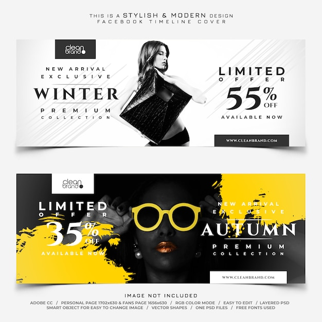 Banners de portada de venta de moda de facebook PSD Premium
