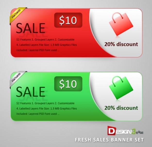 Banners de venta establecidos. compras y descuentos PSD gratuito