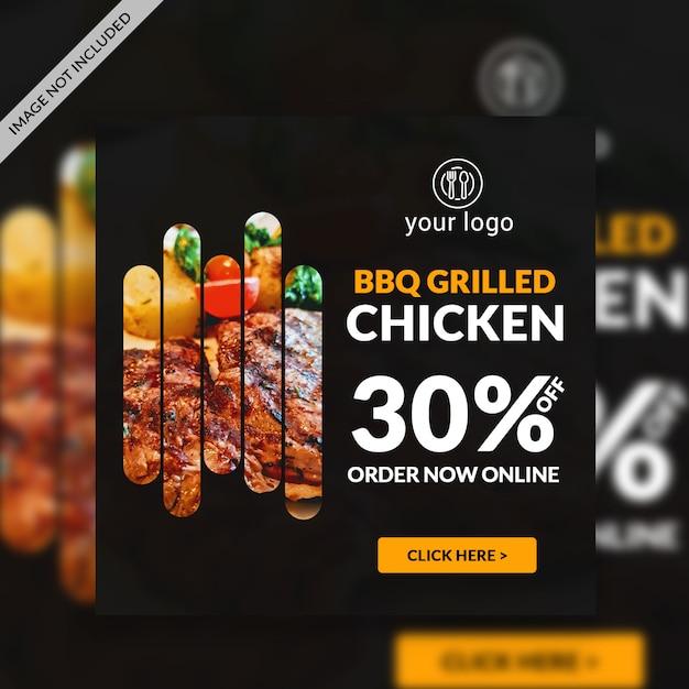 Barbacue restaurant websjabloon voor spandoek Premium Psd