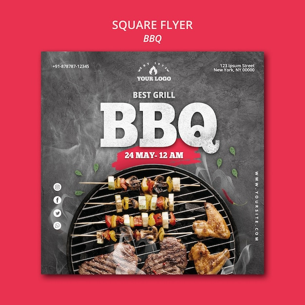 Barbecue flyer sjabloon concept Gratis Psd