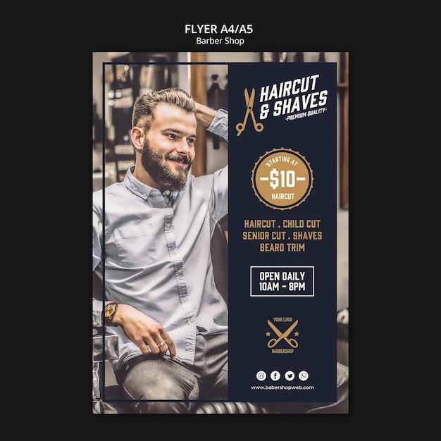 Barber shop flyer-sjabloon Gratis Psd