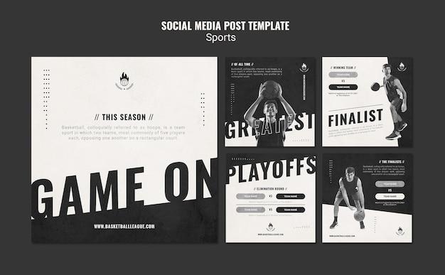 Basketbal advertentie social media postsjabloon Gratis Psd