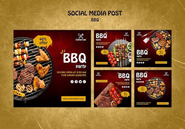 Bbq concept soial media post Gratis Psd