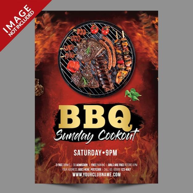 Bbq-zondag feest poster of sjabloon folder Premium Psd
