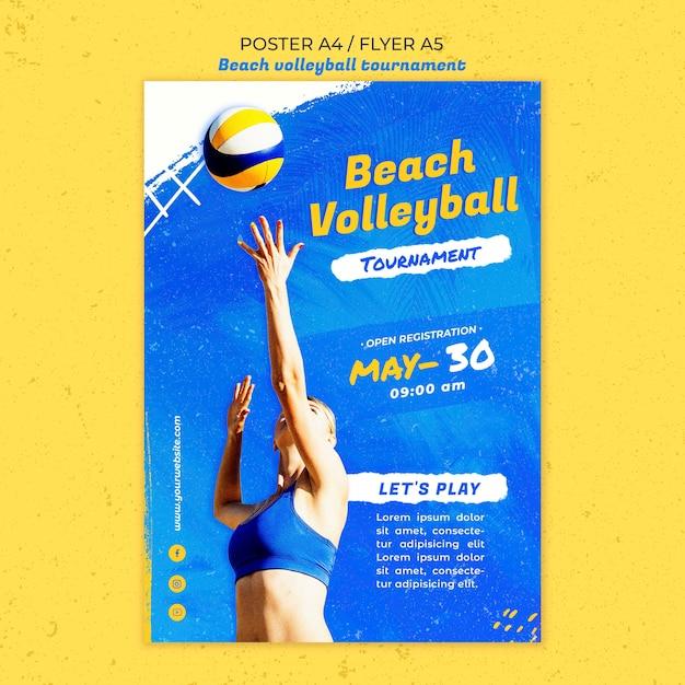 Beachvolleybal concept poster sjabloon Gratis Psd