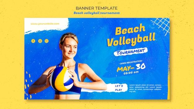 Beachvolleybal concept sjabloon voor spandoek Gratis Psd
