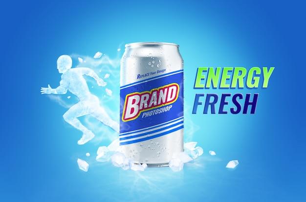 Bebida fresca y energética puede maquetas y publicidad de hielo en el cuerpo PSD Premium