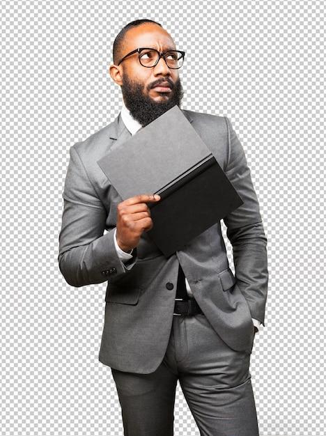 Bedrijfs zwarte mens die een boek houdt Premium Psd