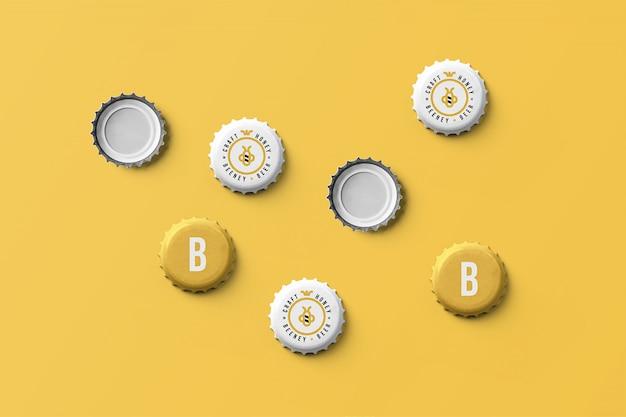 Beer cap mockup Psd Premium
