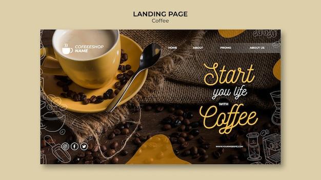 Begin je leven met de bestemmingspagina voor koffie Gratis Psd