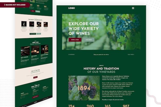 Bekijk onze grote verscheidenheid aan wijnwebsitepaginasjabloon Premium Psd