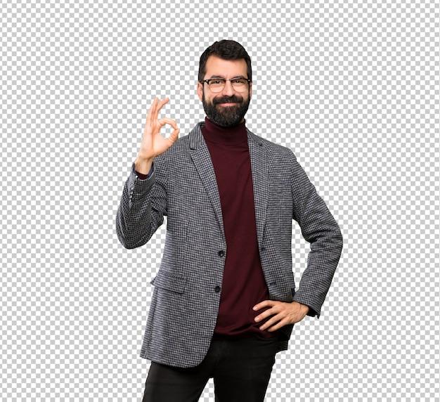 Bell'uomo con gli occhiali mostrando segno ok con le dita Psd Premium