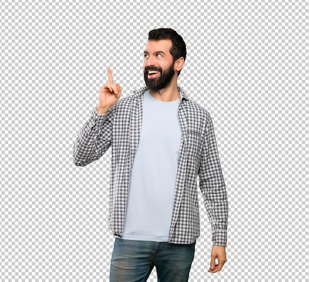 Bell'uomo con la barba che intende realizzare la soluzione sollevando un dito Psd Premium