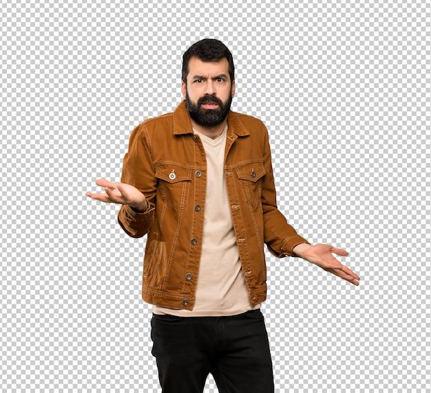 Bell'uomo con la barba infelice per non capire qualcosa Psd Premium