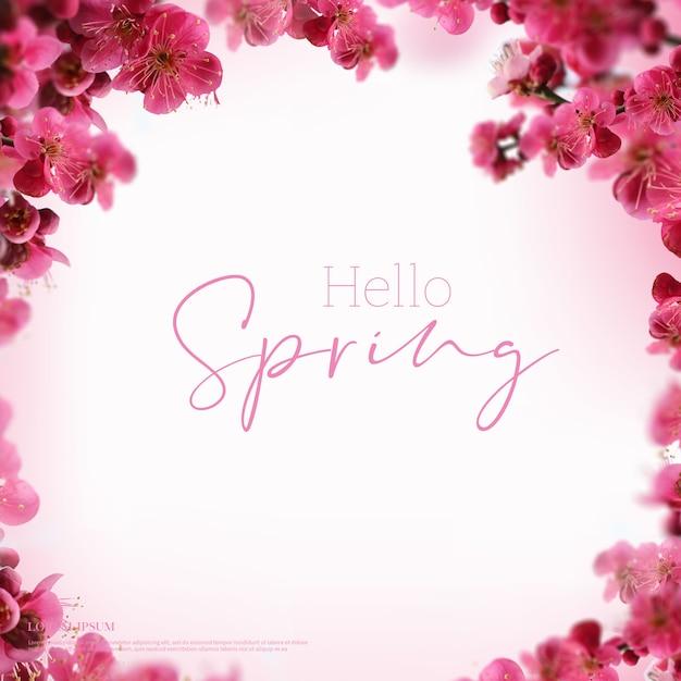 Bella carta di fiori di primavera, tema di stagione, ciao primavera Psd Premium