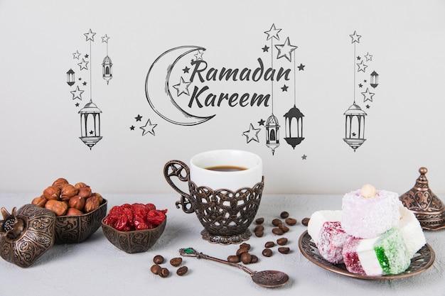Bella natura morta con elementi di ramadan Psd Gratuite