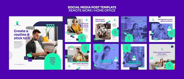Berichten op sociale media op afstand werken Premium Psd