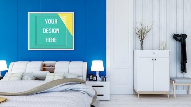 Bespeel fotolijst op de slaapkamermuur Premium Psd