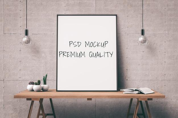 Bespotten poster frame op tafel interieur woonkamer. 3d render Premium Psd
