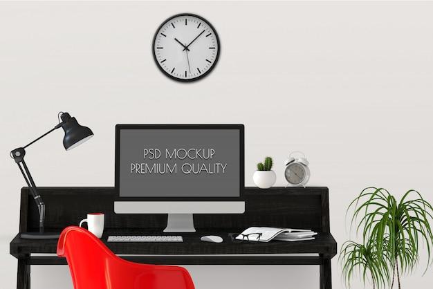 Bespreek het werkgebied met de desktopcomputer. 3d render Premium Psd