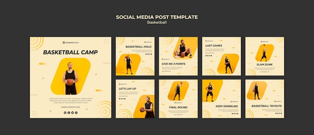 Beste basketbal sociale media plaatsen websjabloon Gratis Psd