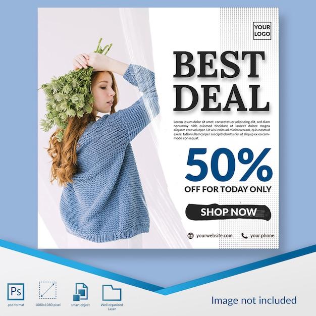 Beste deal mode korting aanbieding vierkante banner of instagram postsjabloon Premium Psd