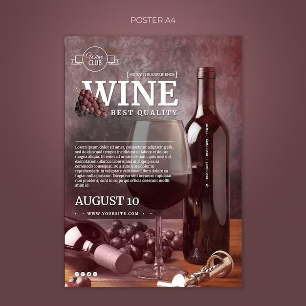 Beste kwaliteit wijnproeverij poster sjabloon Gratis Psd