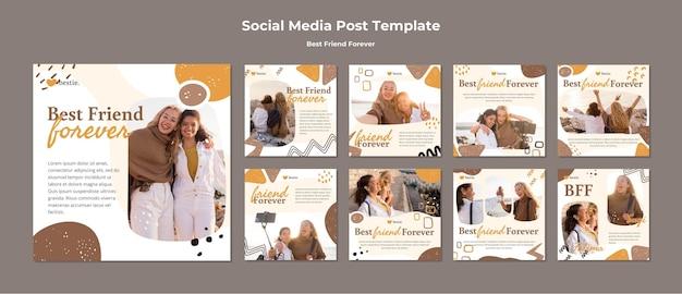 Beste vrienden voor altijd social media postsjabloon Premium Psd