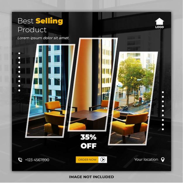 Bestverkopende meubels sociale media plaatsen bannermalplaatjes Premium Psd