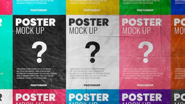 Betegelde poster papier grunge textuur mockup realistisch Premium Psd
