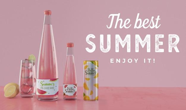 Bevande estive sul tavolo con tipografia Psd Gratuite