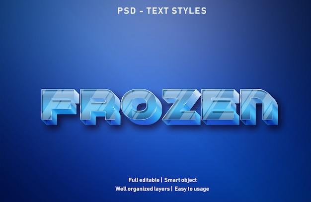 Bevroren teksteffecten stijl bewerkbare psd Premium Psd