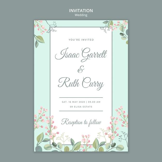 Bewaar de datum bloemen bruiloft uitnodiging sjabloon Gratis Psd