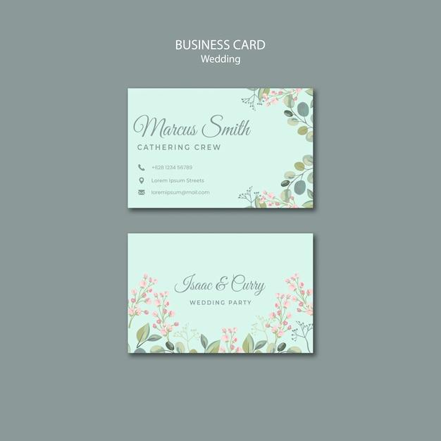 Bewaar de sjabloon voor visitekaartjes met datum bloemen bruiloft Gratis Psd