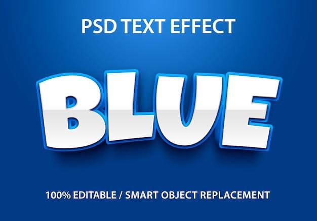 Bewerkbaar teksteffect blauw Premium Psd