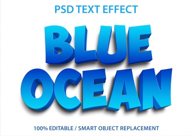 Bewerkbaar teksteffect blauwe oceaan Premium Psd