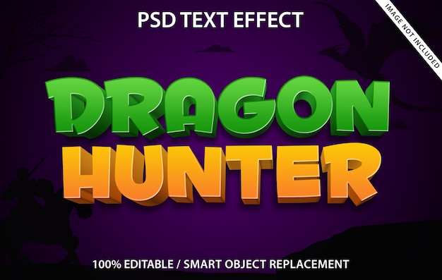 Bewerkbaar teksteffect dragon hunter Premium Psd