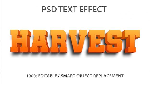 Bewerkbaar teksteffect harvest premium Premium Psd