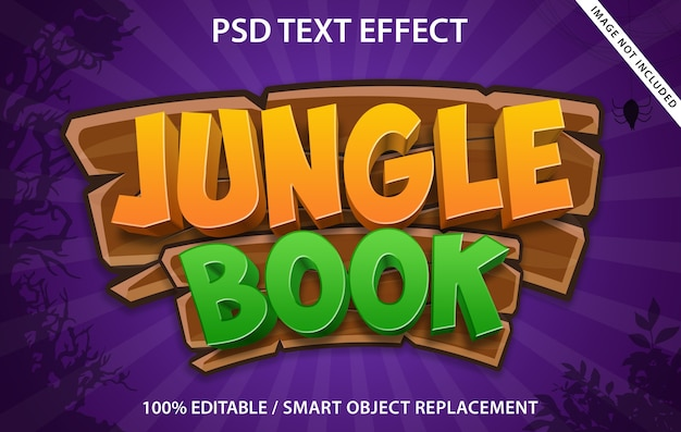 Bewerkbaar teksteffect jungle book Premium Psd