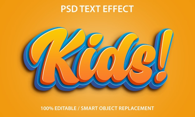 Bewerkbaar teksteffect kinderen Premium Psd
