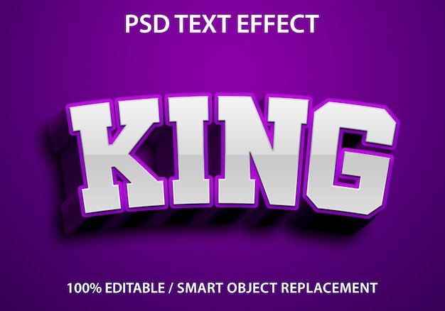 Bewerkbaar teksteffect king purple Premium Psd