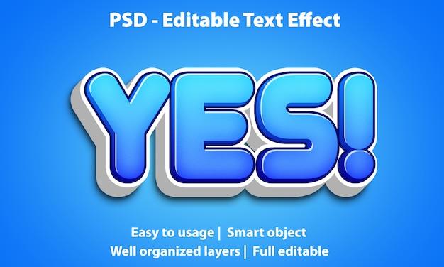 Bewerkbaar teksteffect leuk ja premium Premium Psd