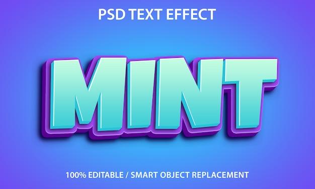 Bewerkbaar teksteffect mint Premium Psd