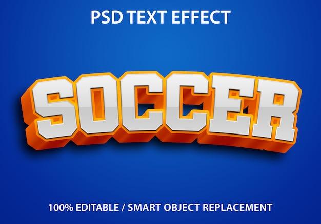 Bewerkbaar teksteffect oranje voetbal premium Premium Psd
