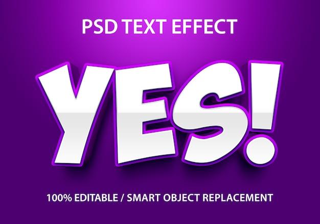 Bewerkbaar teksteffect paars ja premium Premium Psd