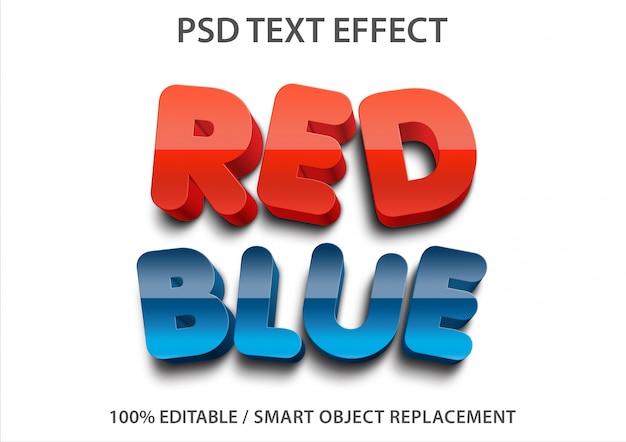 Bewerkbaar teksteffect rood en blauw Premium Psd