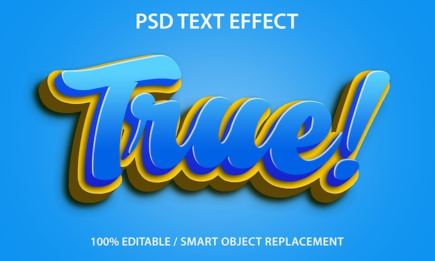Bewerkbaar teksteffect true premium Premium Psd