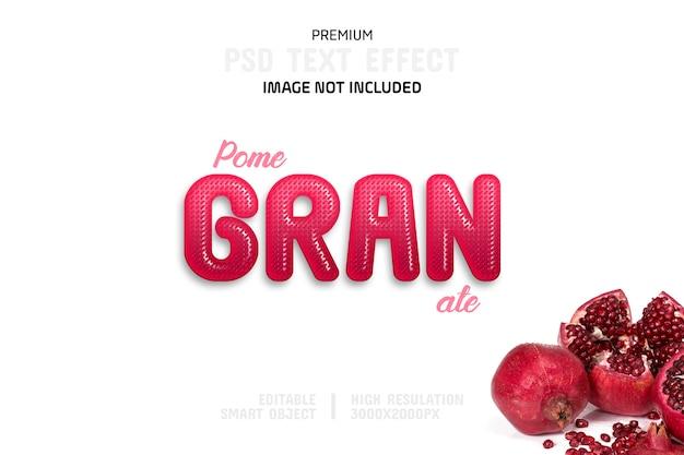 Bewerkbare granaatappel teksteffect sjabloon Premium Psd